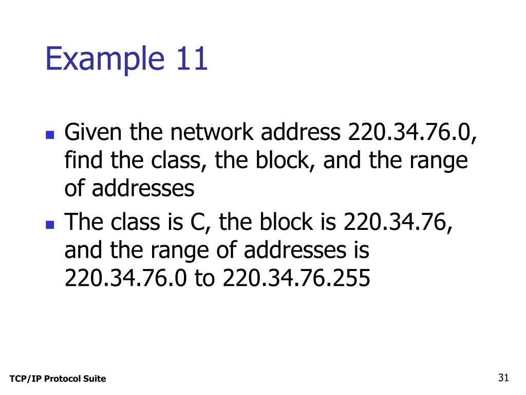Given the network address 220.34.76.0, find the class, the block, and the range of addresses