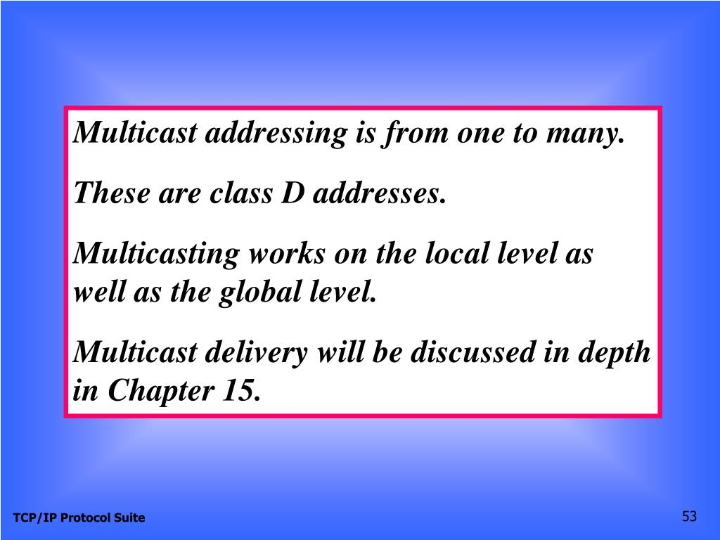 Multicast addressing is from one to many.