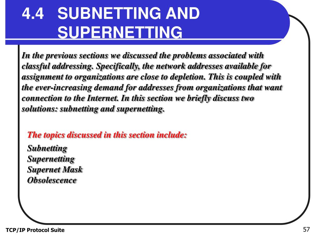 4.4   SUBNETTING AND