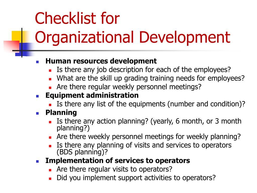 Checklist for