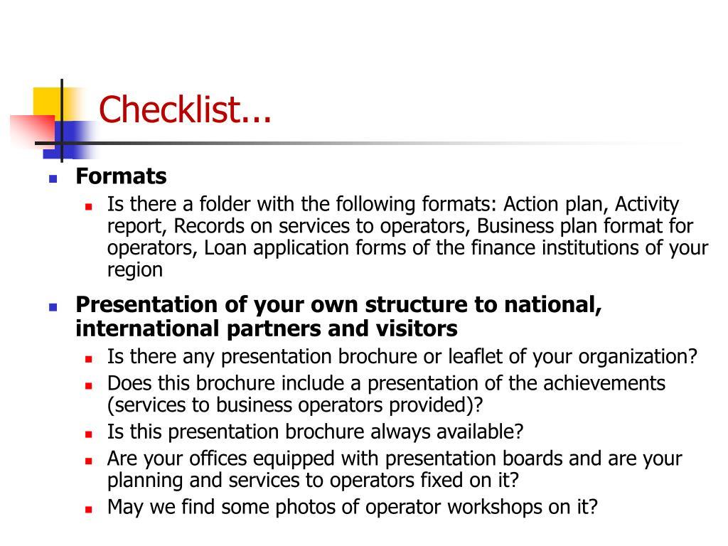 Checklist...