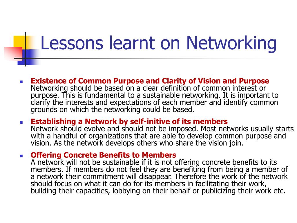 Lessons learnt on Networking
