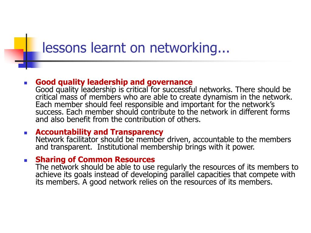 lessons learnt on networking...