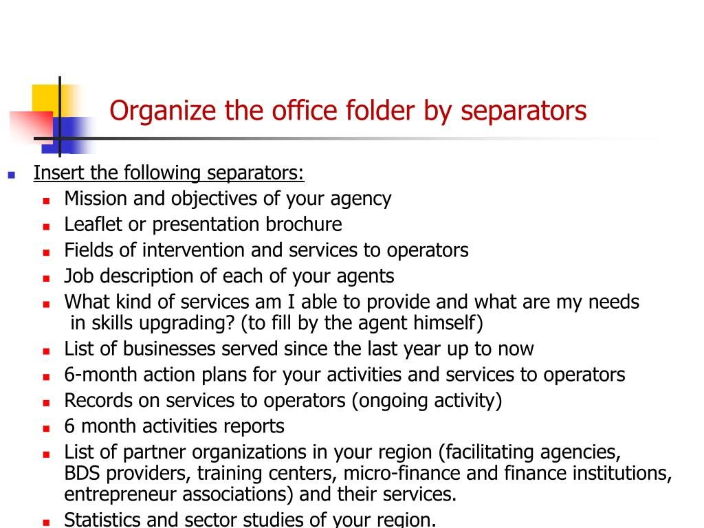 Organize the office folder by separators