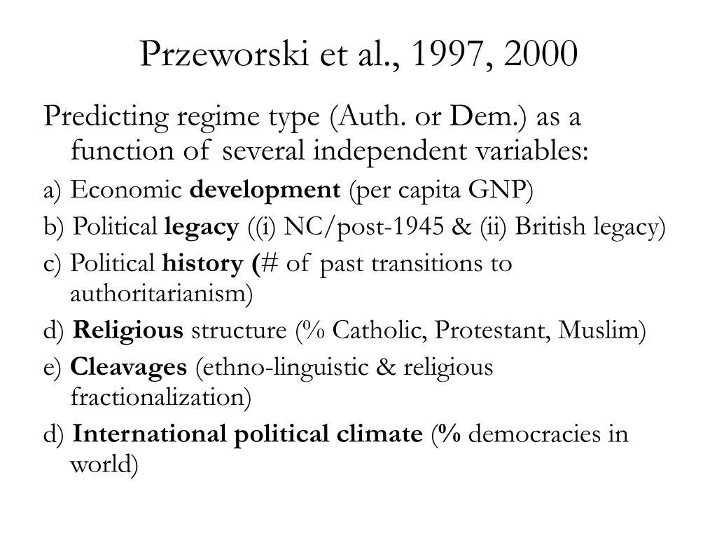 Przeworski et al., 1997, 2000