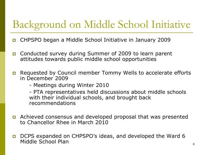 Background on Middle School Initiative