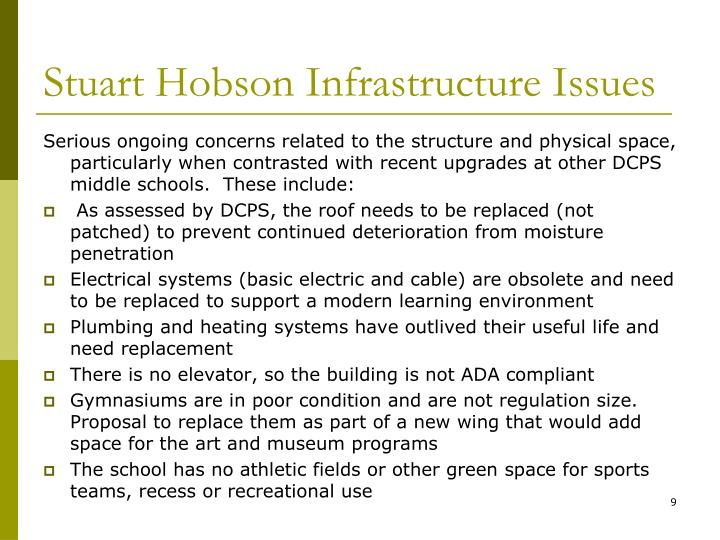 Stuart Hobson Infrastructure Issues