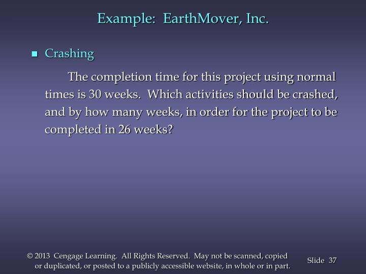 Example:  EarthMover, Inc.