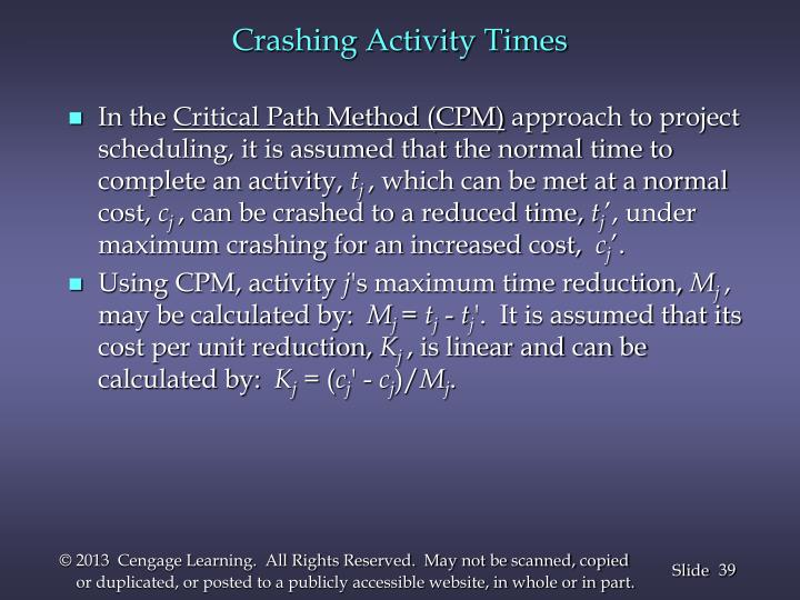 Crashing Activity Times