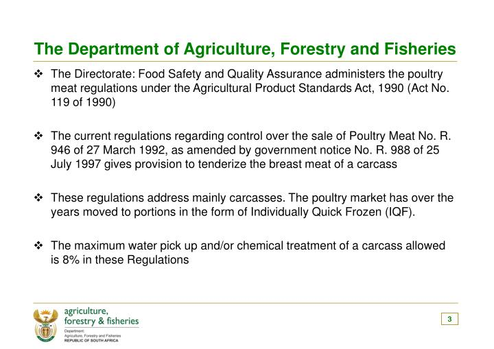 The Department of Agriculture, Forestry and Fisheries