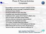 phase iii planned activities completed