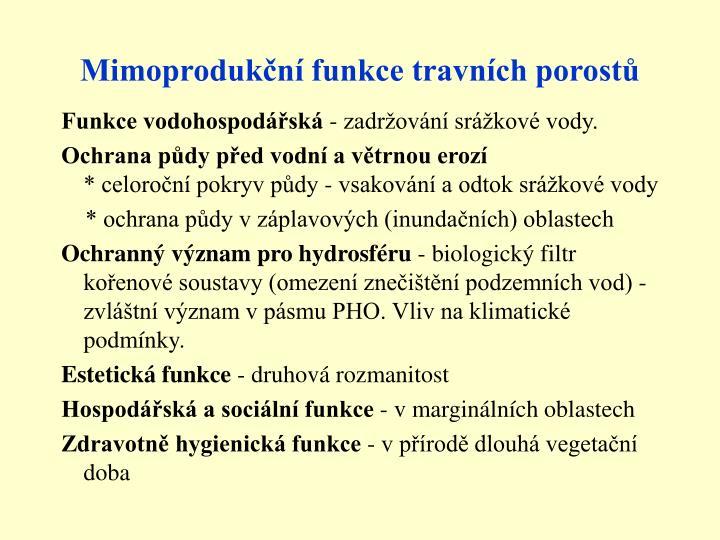 Mimoprodukční funkce travních porostů