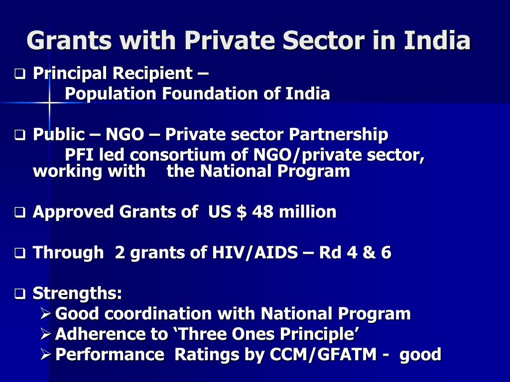 Grants with Private Sector in India