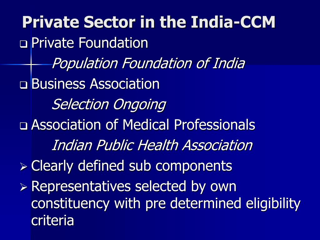Private Sector in the India-CCM