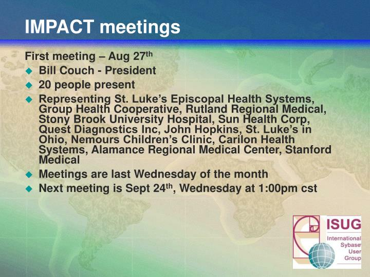 IMPACT meetings