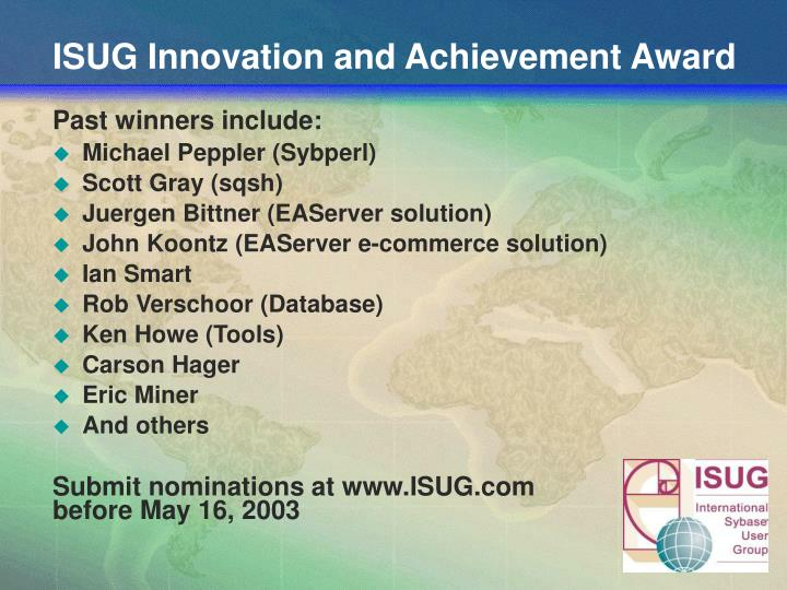 ISUG Innovation and Achievement Award