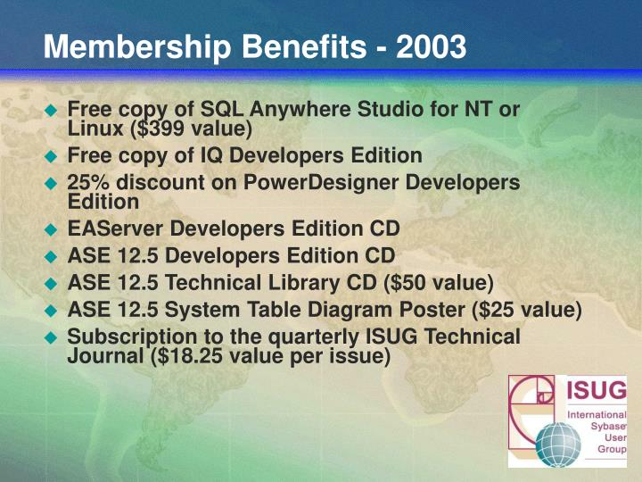 Membership Benefits - 2003