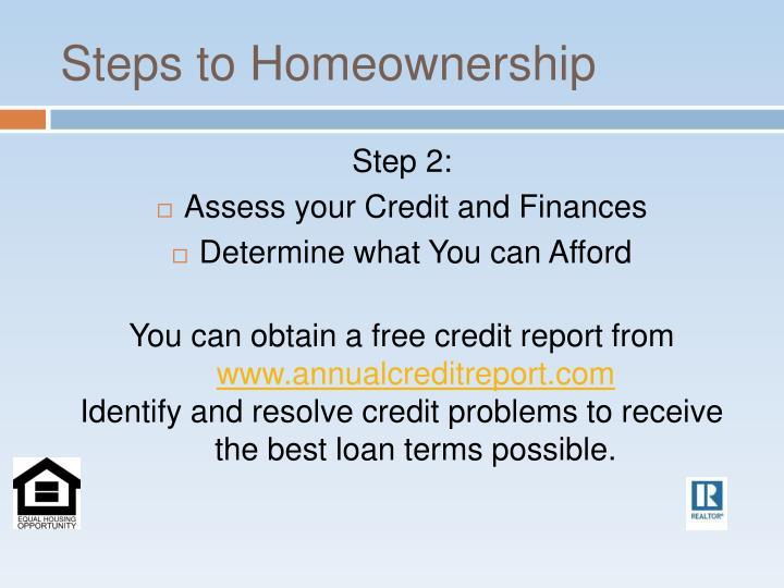 Steps to Homeownership