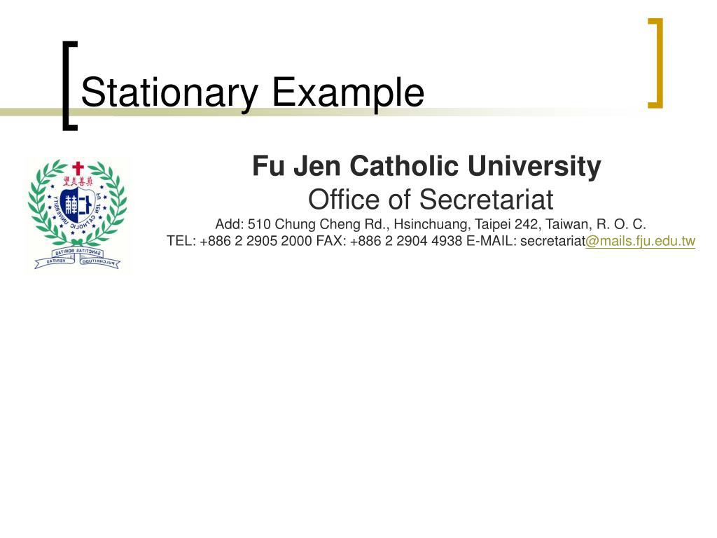 Stationary Example