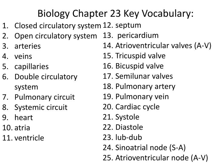 Biology Chapter 23 Key Vocabulary: