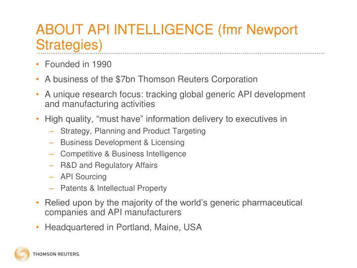 ABOUT API INTELLIGENCE (fmr Newport Strategies)