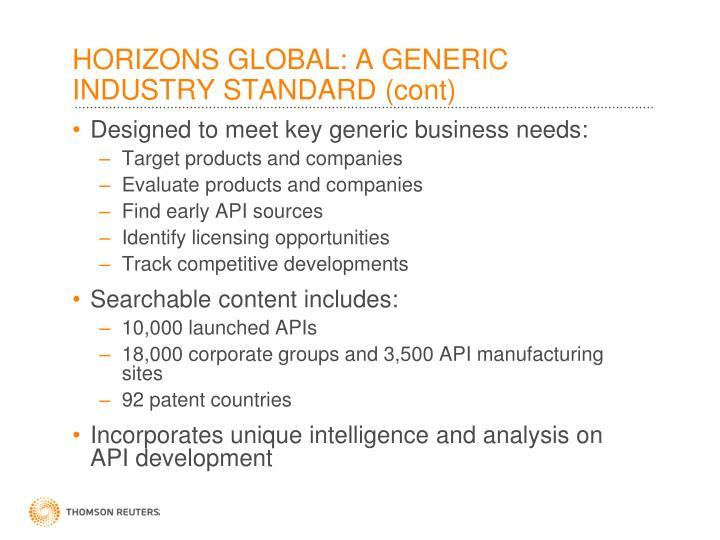 HORIZONS GLOBAL: A GENERIC INDUSTRY STANDARD (cont)