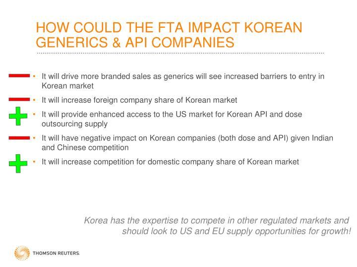 HOW COULD THE FTA IMPACT KOREAN GENERICS & API COMPANIES