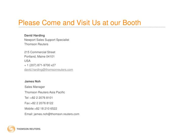 Please Come and Visit Us at our Booth