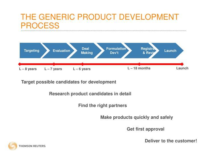 THE GENERIC PRODUCT DEVELOPMENT PROCESS