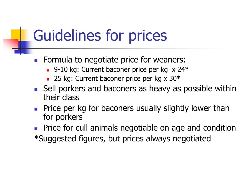 Guidelines for prices