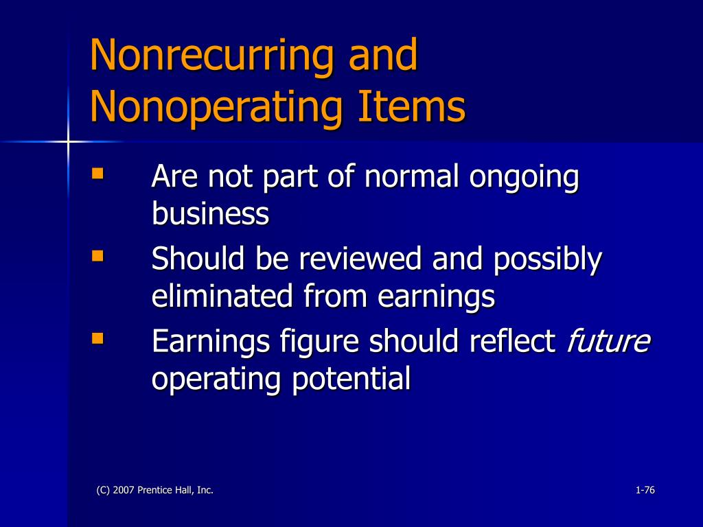 Nonrecurring and Nonoperating Items