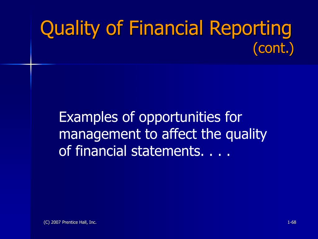 Quality of Financial Reporting