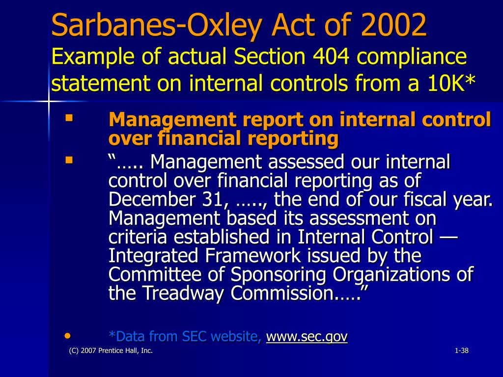 acc 561 sabanes oxley act 2002 Week 2 sarbanes-oxley act 2002 david mizelle uop acc 561 accounting 20 aug 2013 elizabeth cena the sarbanes-oxley act of 2002 sox was a direct output of.