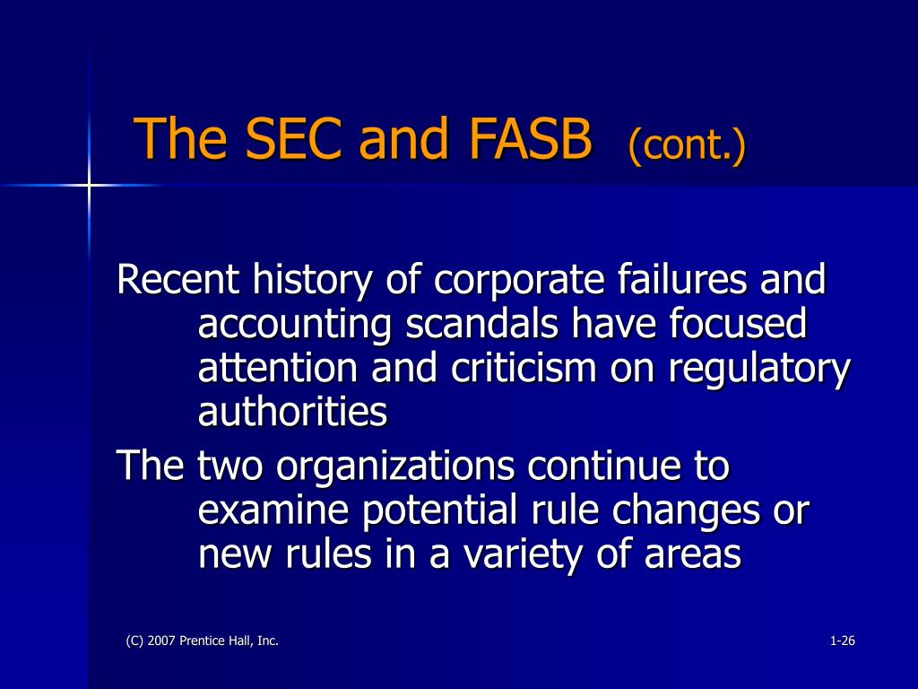 The SEC and FASB