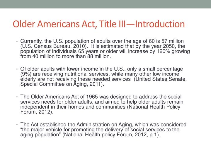 Older Americans Act, Title III—Introduction