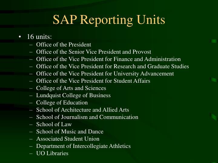 SAP Reporting Units
