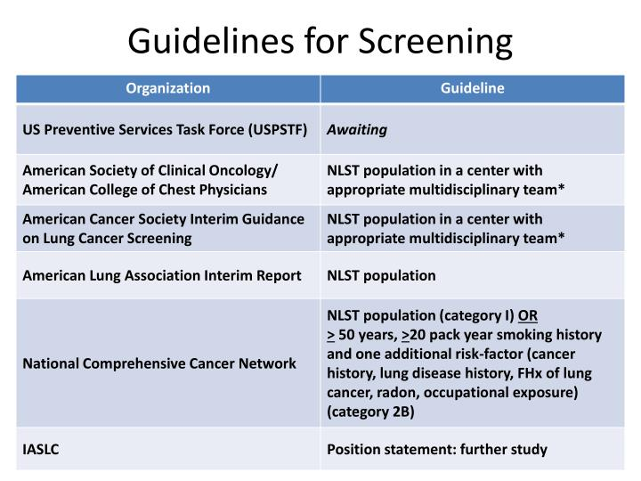 Guidelines for Screening