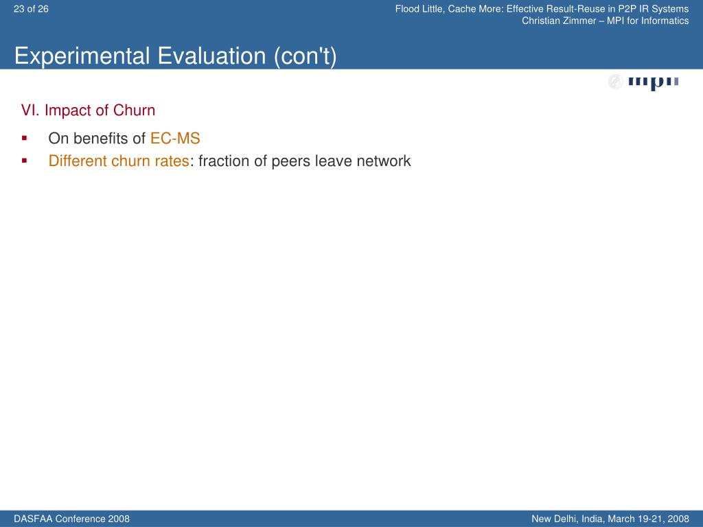 Experimental Evaluation (con't)