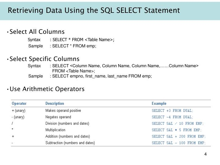 Retrieving Data Using the SQL SELECT Statement