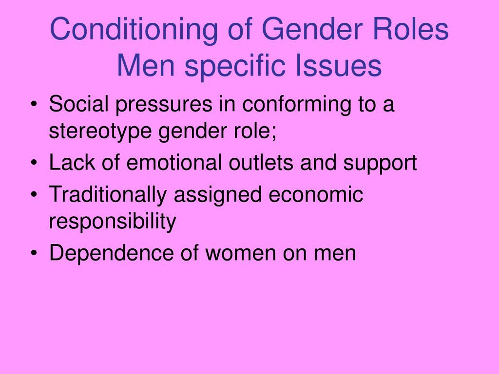 Conditioning of Gender Roles Men specific Issues