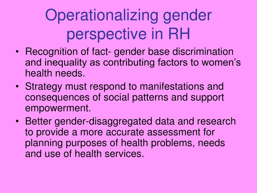 Operationalizing gender perspective in RH