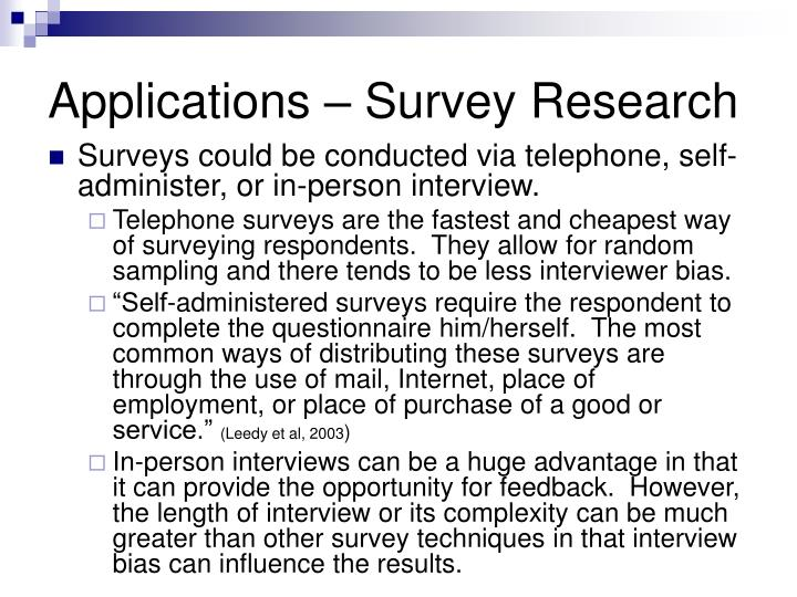 Applications – Survey Research