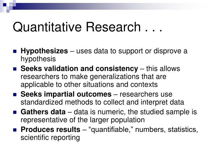 Quantitative Research . . .