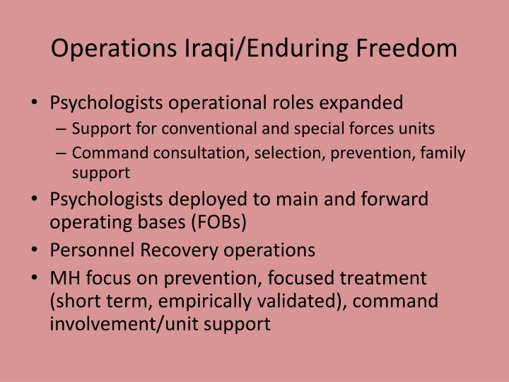 Operations Iraqi/Enduring Freedom