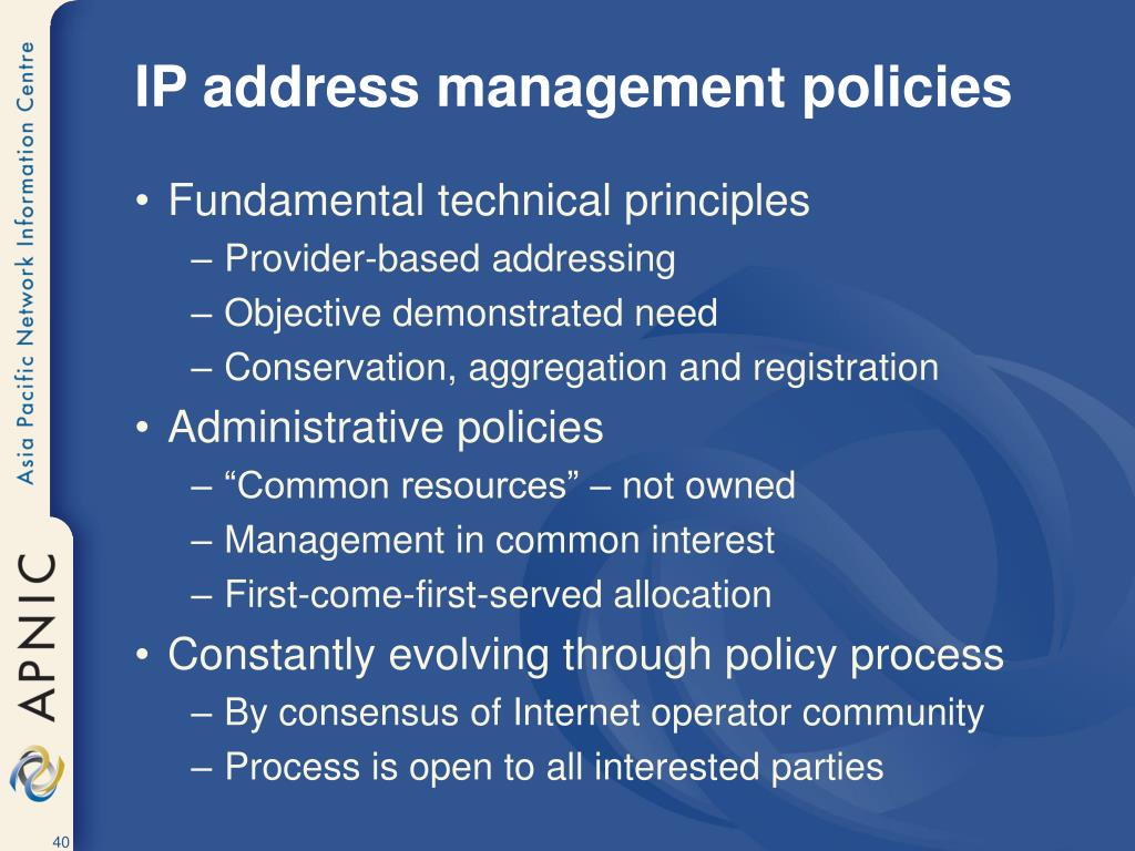 IP address management policies
