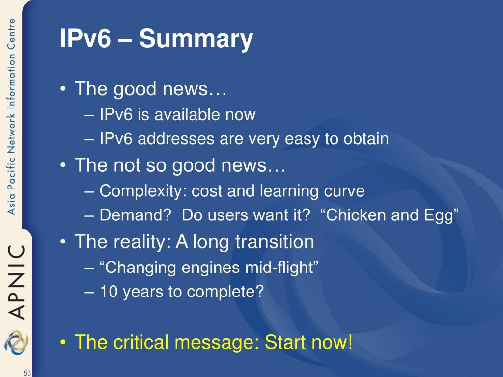 IPv6 – Summary