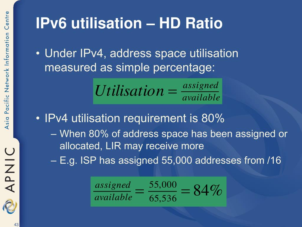 IPv6 utilisation – HD Ratio