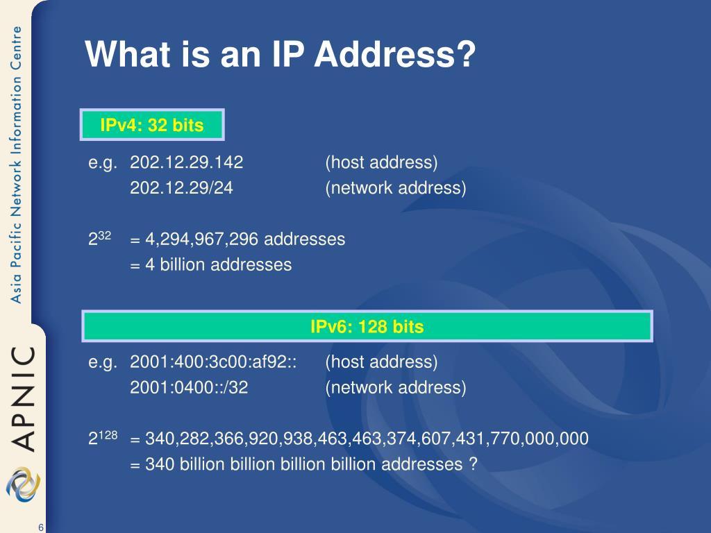 IPv4: 32 bits