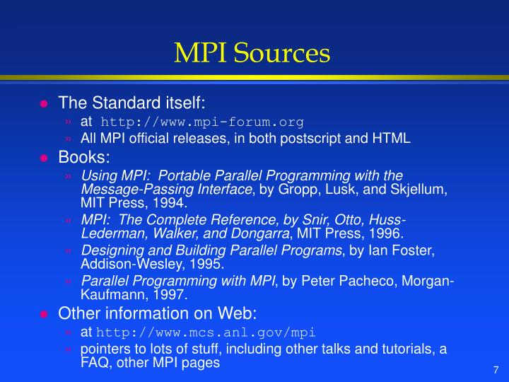 MPI Sources
