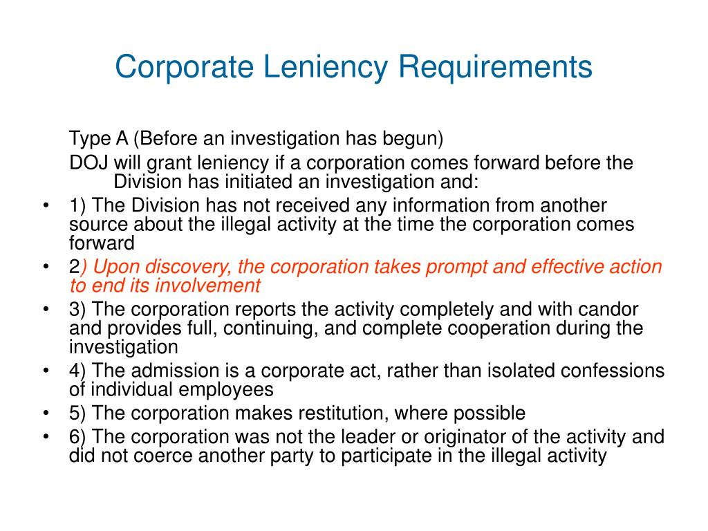 Corporate Leniency Requirements
